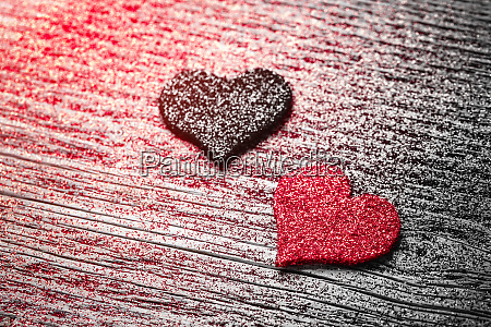 red and black felt hearts