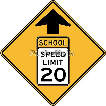 reduceret hastighed skole zone forude