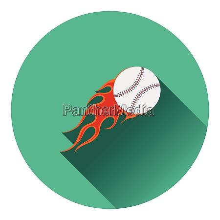 baseball fire ball icon flat color