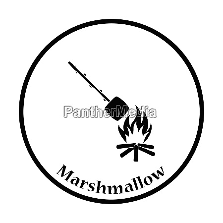 camping fire with roasting marshmallow icon