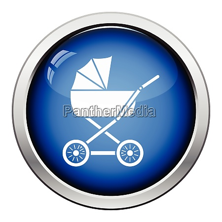 pram icon glossy button design vector