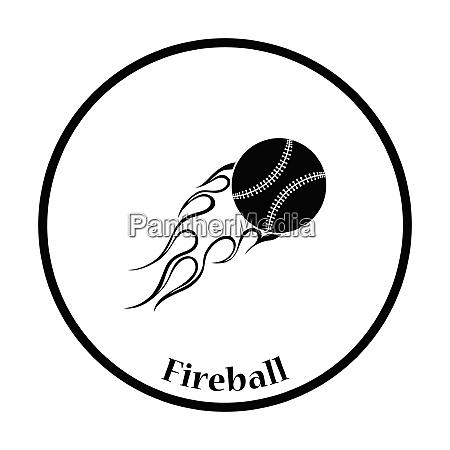 baseball fire ball icon thin circle