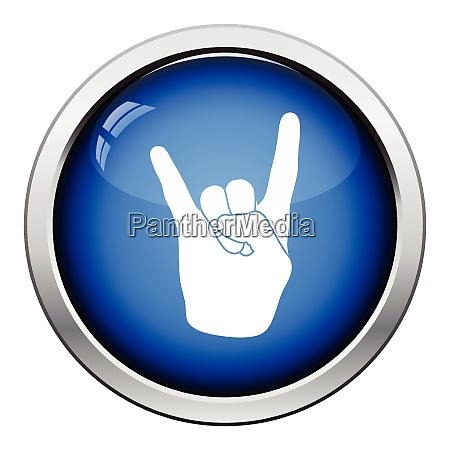 rock hand icon glossy button design