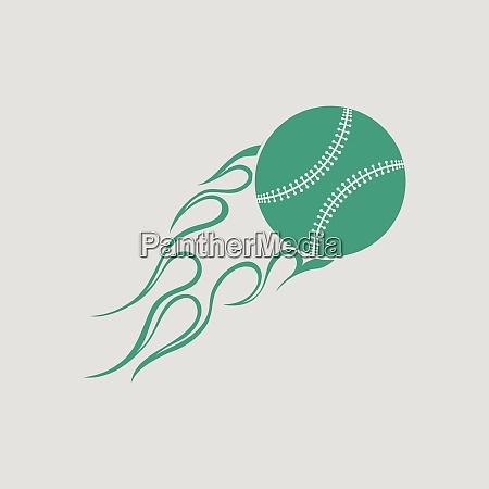 baseball fire ball icon gray background