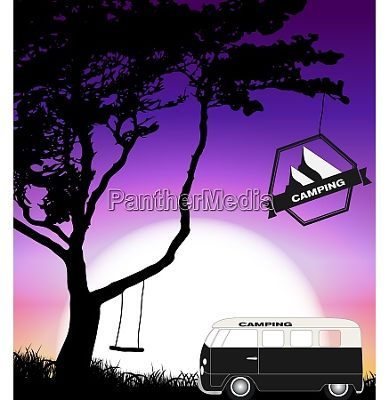 cartoon minibus in nature a tree
