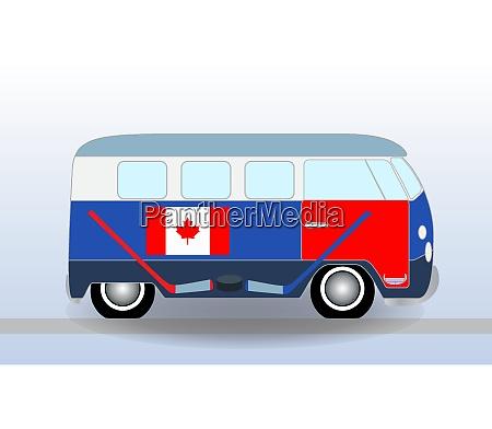 cartoon minibus with hockey stick and