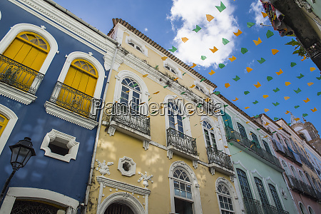street in salvador decorated with colorful