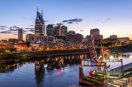 modern cityscape with cumberland river and