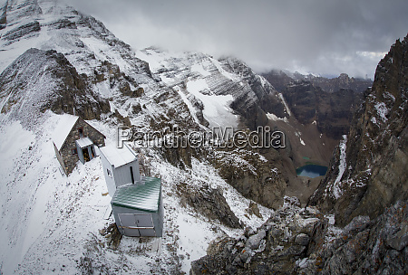 majestic scenery with buildings in mountains