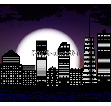 silhouette of big city on background