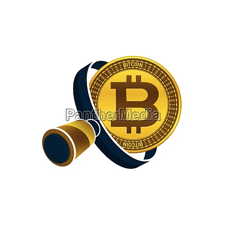 gold colored bitcoin black magnifying glass