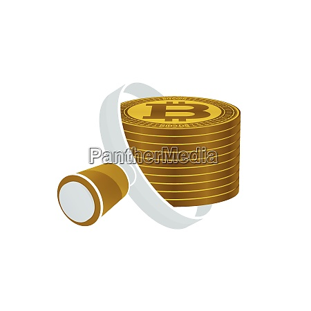 white magnifying glass gold colored bitcoins