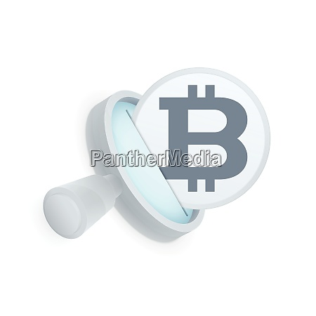 white magnifying glass and black bitcoin