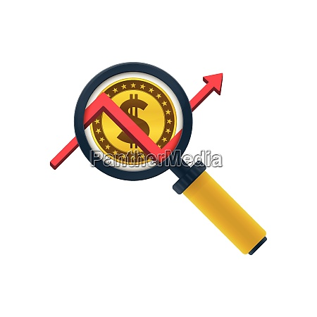 gold colored dollar coin graph magnifying