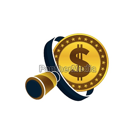 gold colored dollar coin black magnifying