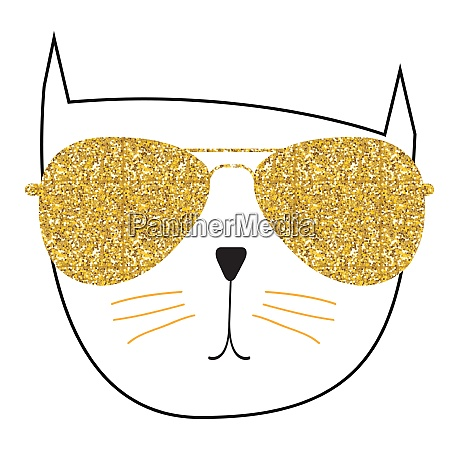 cute handdrawn cat on white vector