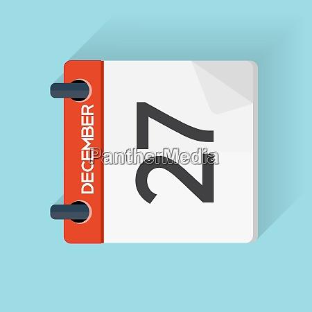 december 27 kalender fladt dagligt ikon
