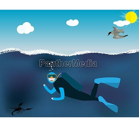 underwater people cartoon scuba diver