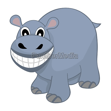 funny cartoon character hippo with wide