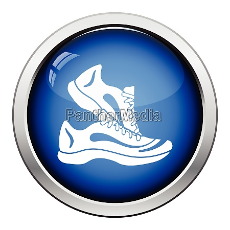 fitness sneakers icon glossy button design