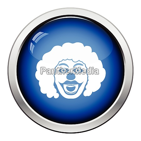 party clown face icon glossy button