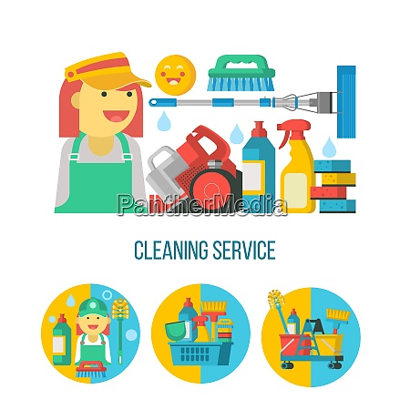 cleaning service flat vector illustration set