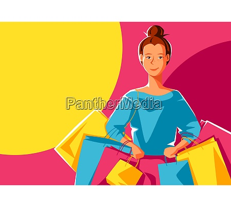 cute girl with packages shopping illustration
