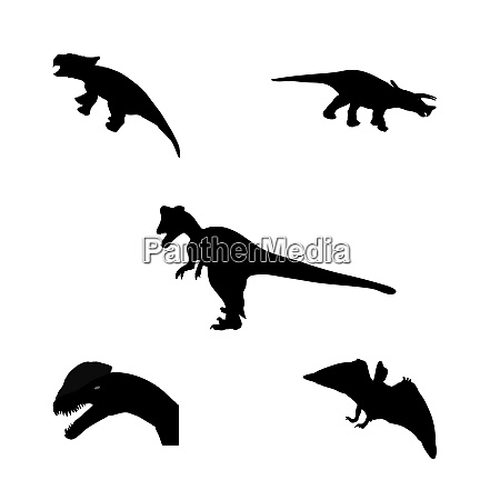 set of silhouette dinosaur black vector