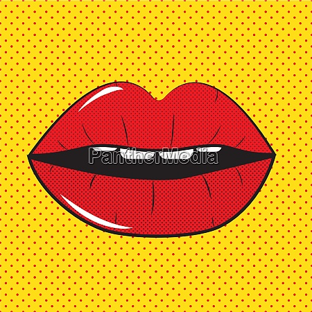 open red lips pop art background
