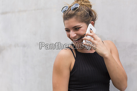 portrait of laughing young woman on