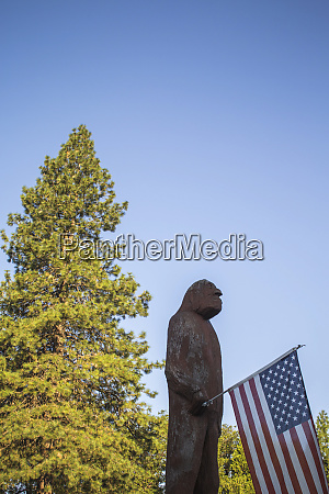 view of statue of sasquatch holding