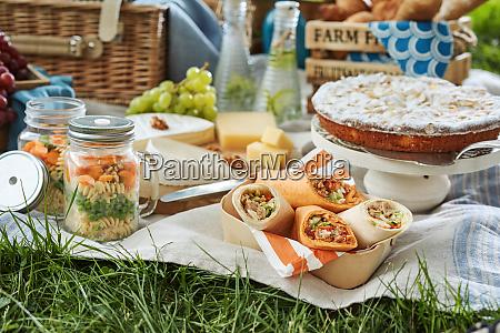 laekker picnic mad serveret udendors pa