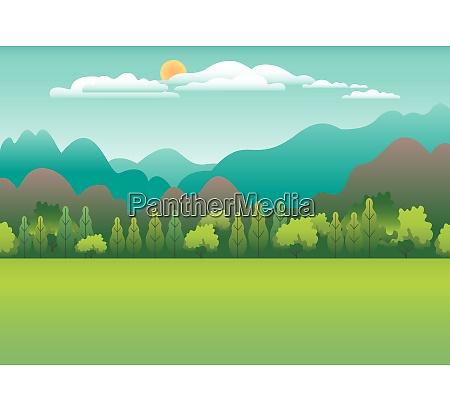 landsby landskab flad vektor skyline bjerge
