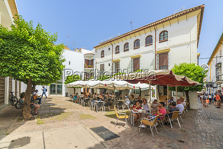 tourists having lunch in a traditional
