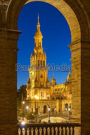 illuminated northern tower at plaza de
