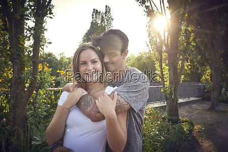 happy young couple flirting in a