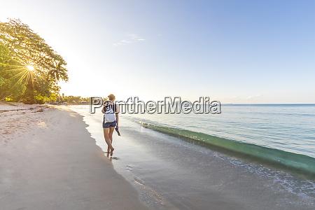 seychelles mahe beau vallon beach woman