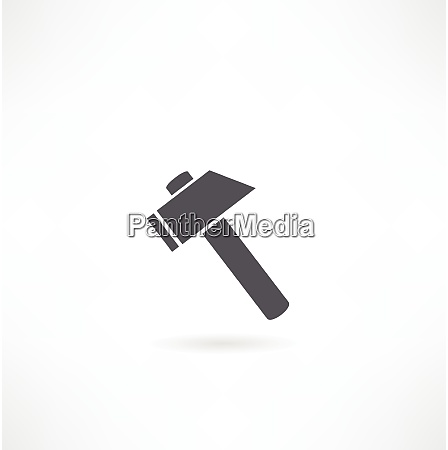 hammer silhuet pa en hvid baggrund