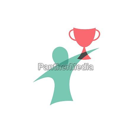 vinder med cup ikonet logo design