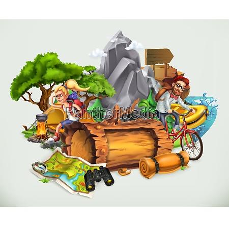 camping og eventyr vektor illustration