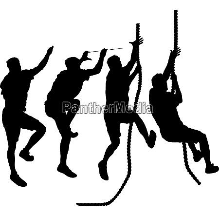 set black silhouette rock climber on