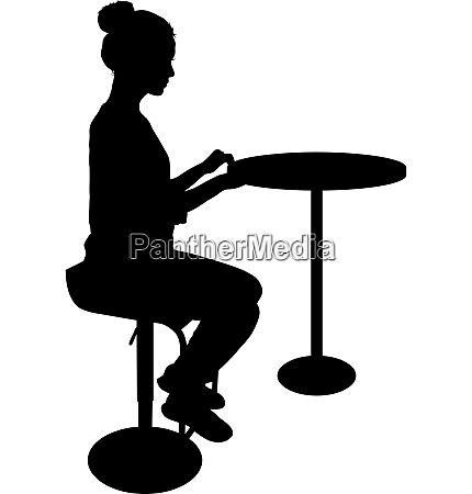 silhouette girl sitting on a chair