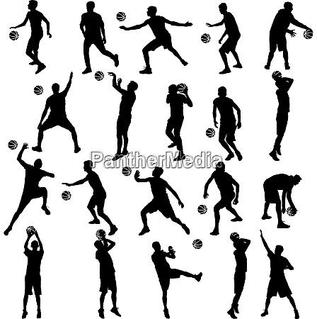 black silhouettes set of men playing