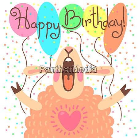 cute happy birthday card with funny