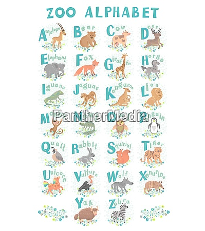 cute vector zoo alphabet funny cartoon