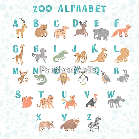 cute vector zoo alphabet funny cartoon