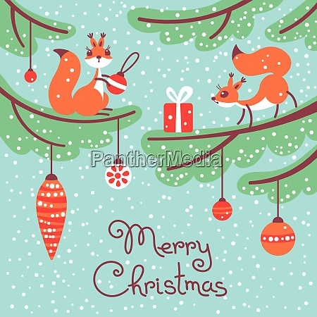 merry christmas cute little squirrels with