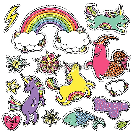 fashion patch badge elements in cartoon