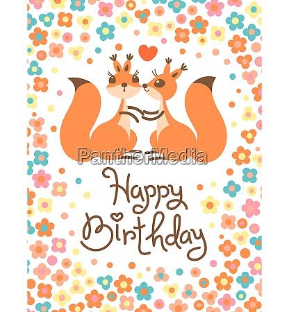 happy birthday card with cute squirrels