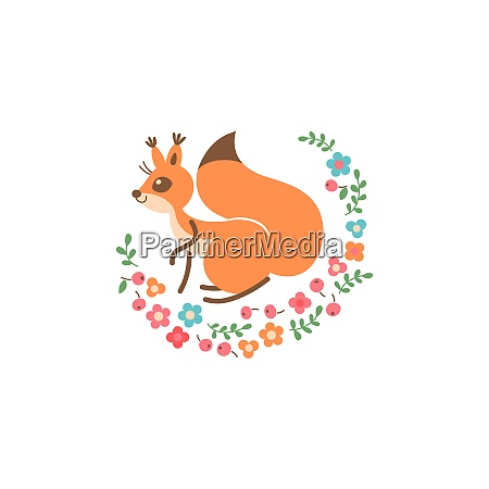 cartoon cute squirrel little funny print